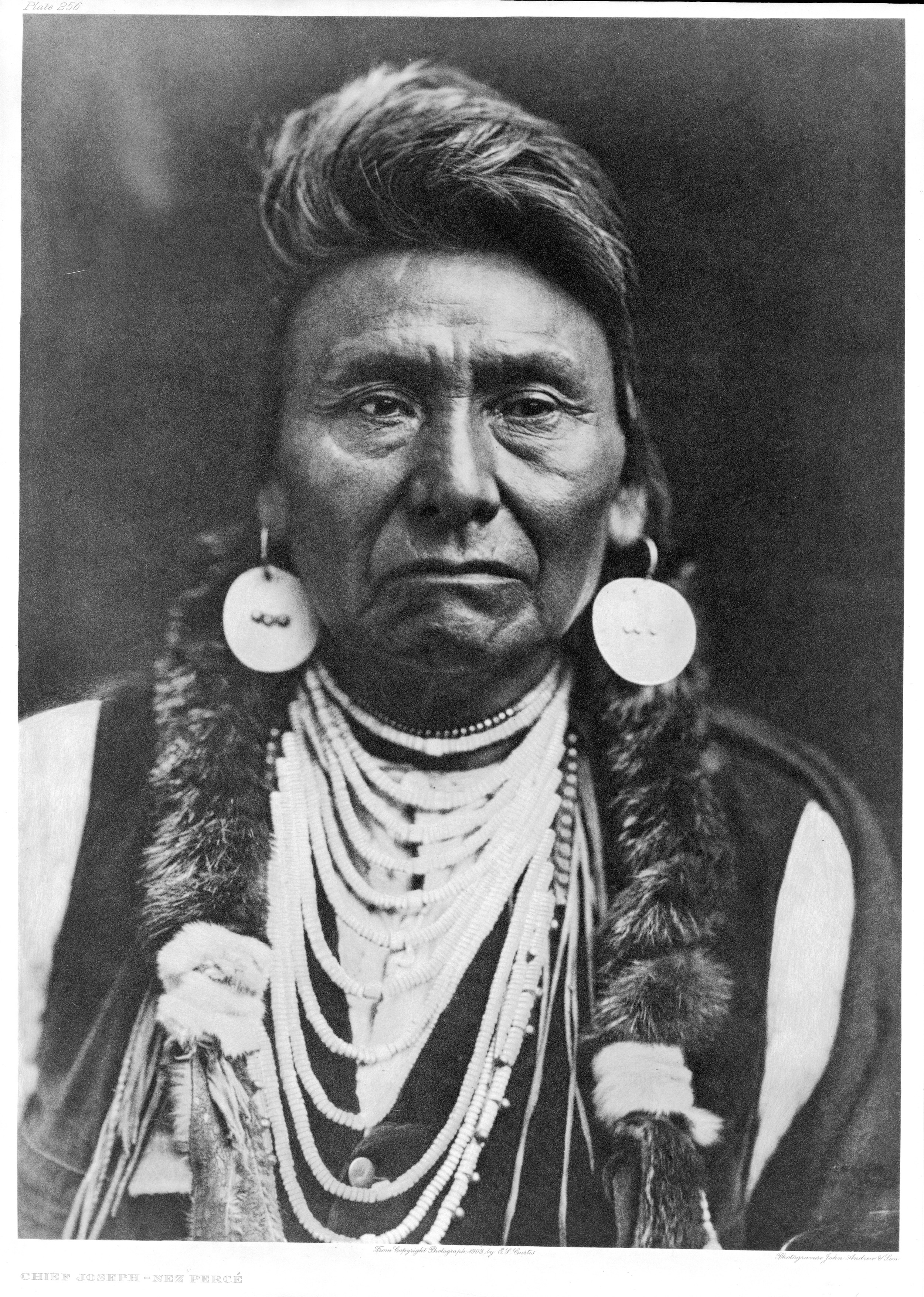 Chief Joseph of the Nez Perce, 1903. Curtis took this picture in his Seattle studio in the last year of Joseph's life. Joseph died, his doctor said, of a broken heart.
