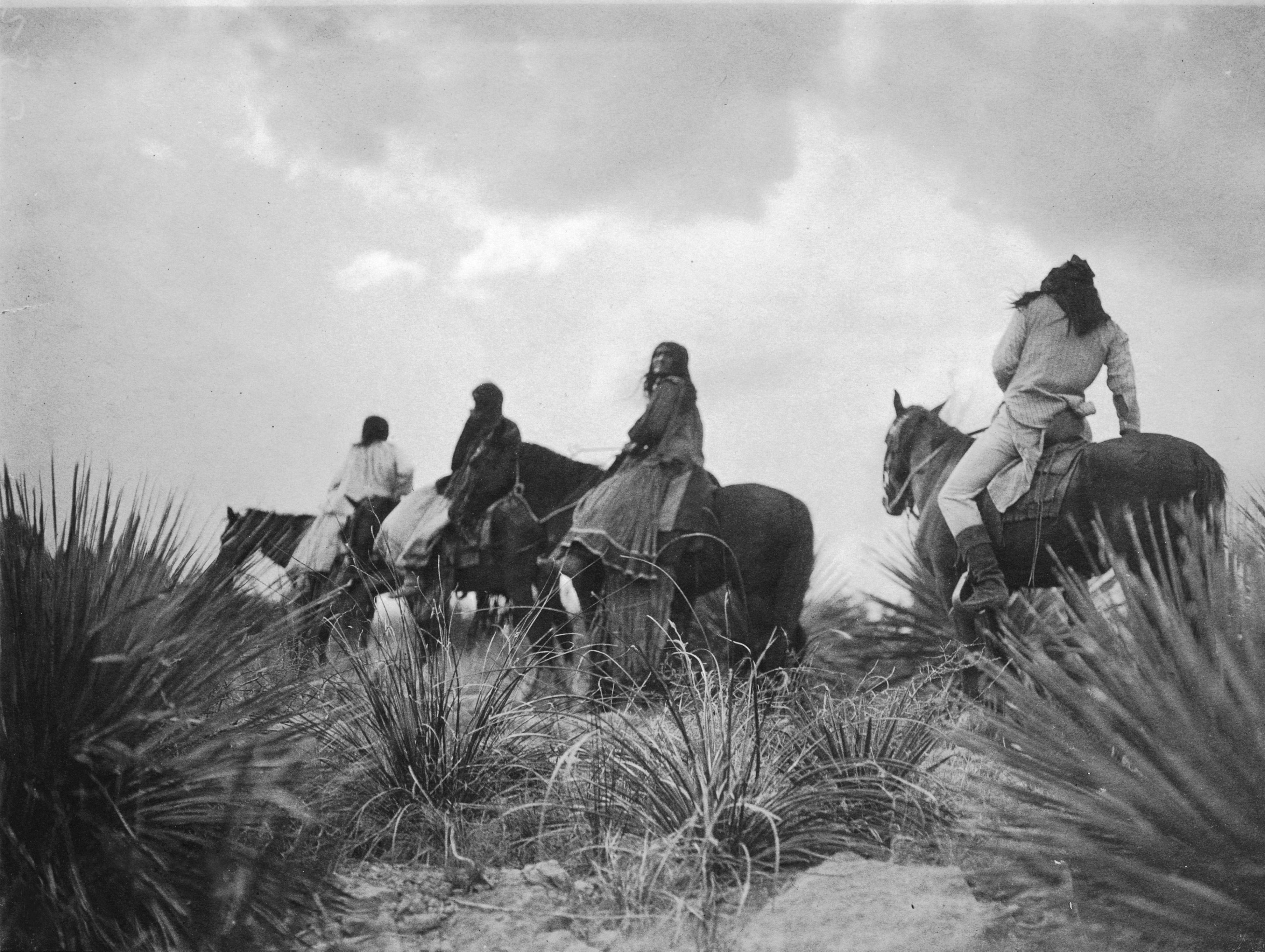 Before the Storm--Apache, 1906. In the arid high country of Arizona Territory, Curtis spent many months trying to capture Apache moments. Told the Apache had no religion, he was determined to prove otherwise.