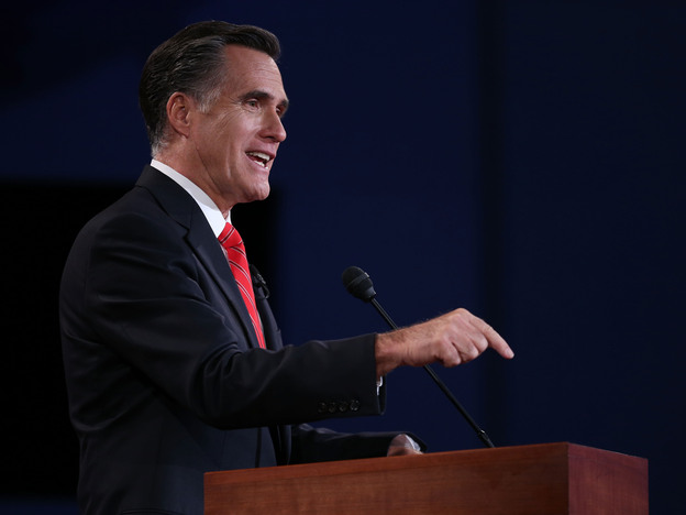 Mitt Romney speaks during the presidential debate Wednesday in Denver.