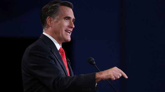 Mitt Romney speaks during the presidential debate Wednesday in Denver. (Getty Images)