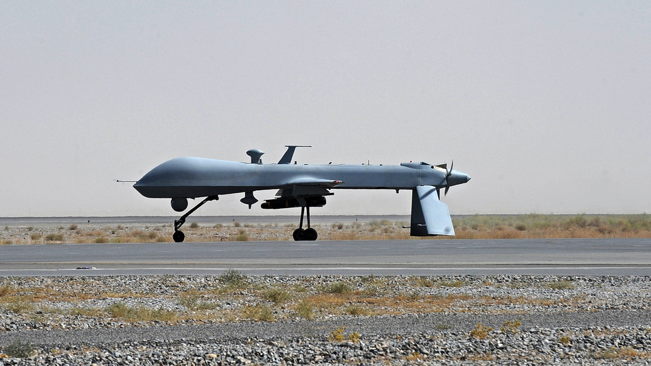 An unmanned U.S. Predator drone sits on the tarmac of Kandahar military airport in southern Afghanistan in 2010. The U.S. has been using drones in Pakistan for years. The Pakistanis initially claimed the drone attacks as the work of their own military, but the strikes have become a source of friction.