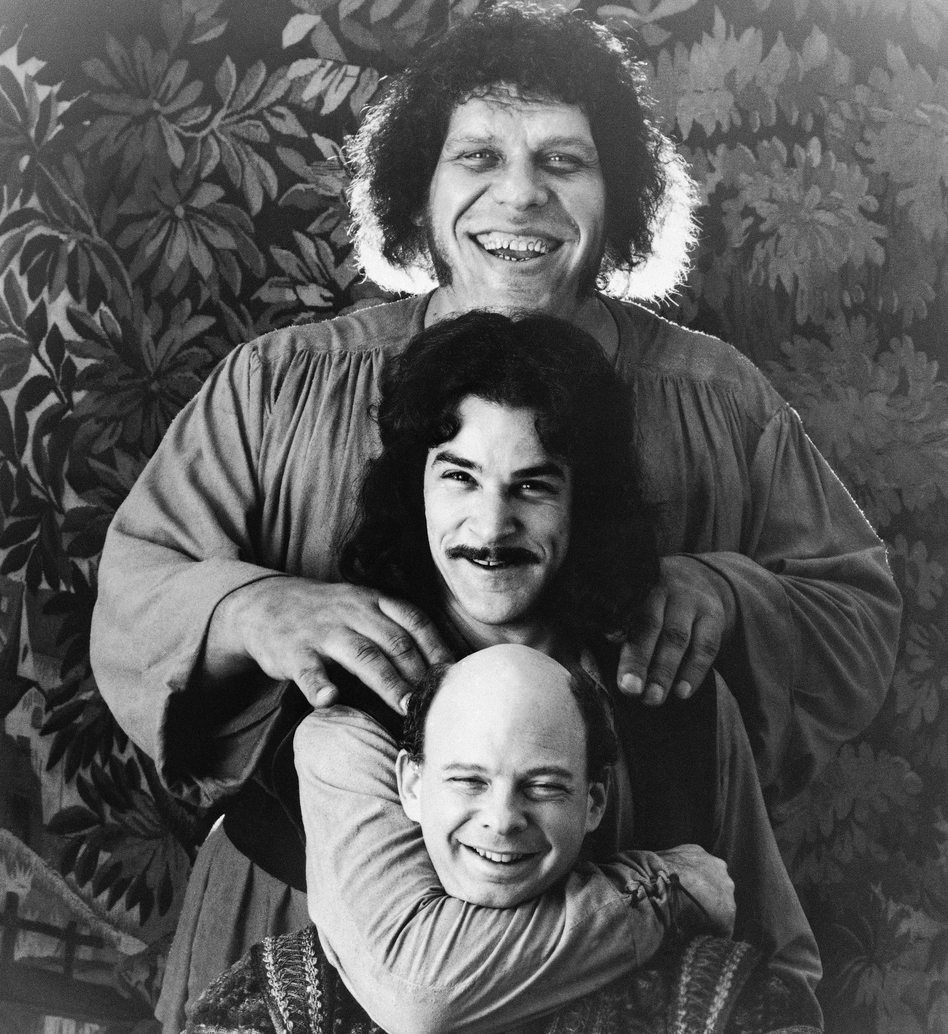 This photo provided by Twentieth Century Fox shows Andres The Giant, top, Mandy Patinkin, center, and Wallace Shawn in <em>The Princess Bride</em>.