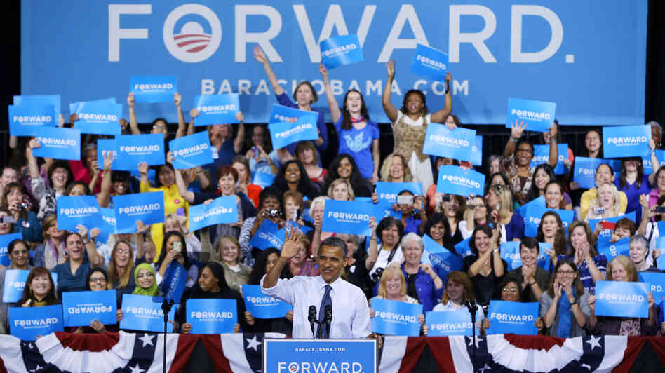 President Obama speaks during a campaign ev
