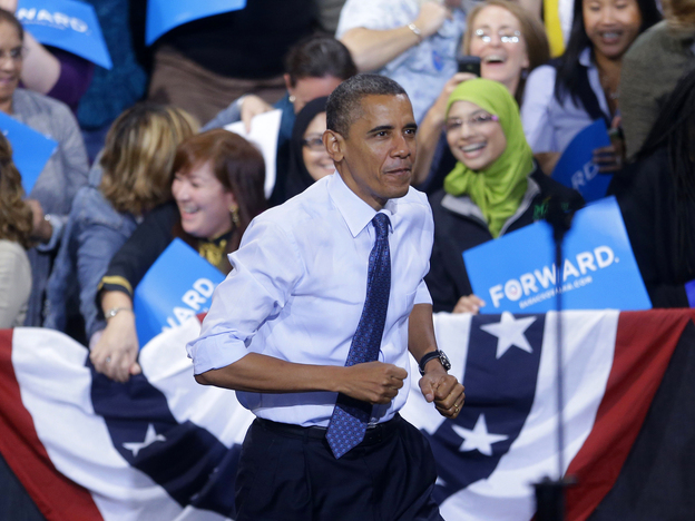 President Obama takes the stage Friday during a campaign event at George Mason University in Fairfax, Va.