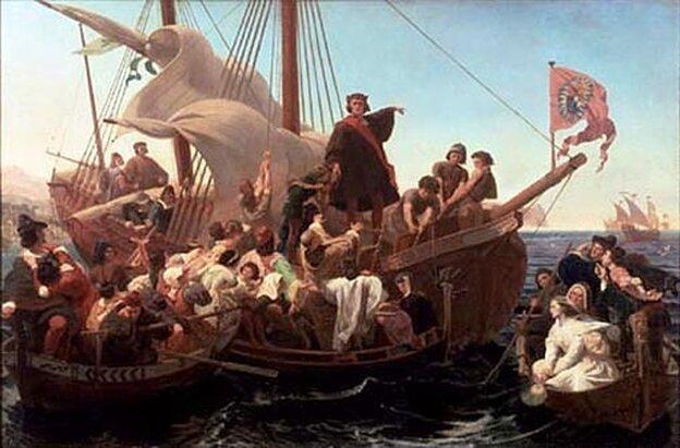 Christopher Columbus on the Santa Maria.