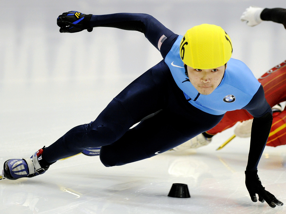 U.S. speedskater Simon Cho competes at the Short Track Speedskating World Cup in Dresden, Germany, in February 2011. Cho said he bent the blade of a skate used by Canadian Olivier Jean at an international meet in Warsaw, Poland, last year.