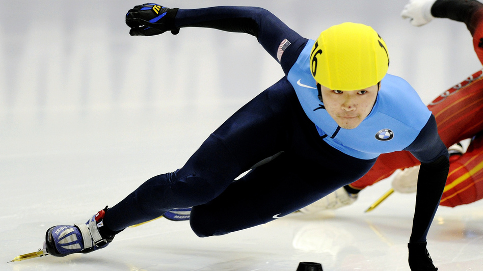 U.S. speedskater Simon Cho competes at the Short Track Speedskating World Cup in Dresden, Germany, in February 2011. Cho said he bent the blade of a skate used by Canadian Olivier Jean at an international meet in Warsaw, Poland, last year. (AP)