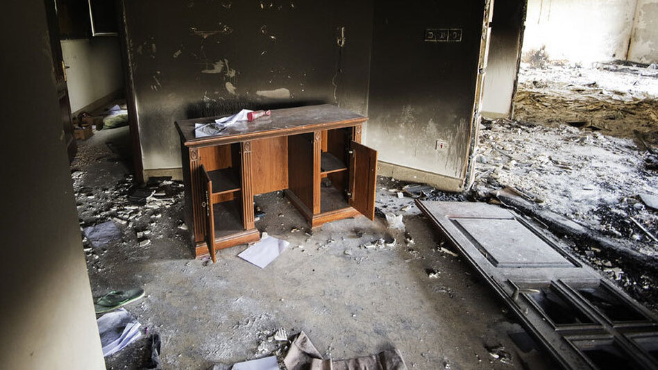 Damage inside the burnt U.S. consulate in Benghazi after an attack on the building Sept. 11. (Getty Images)