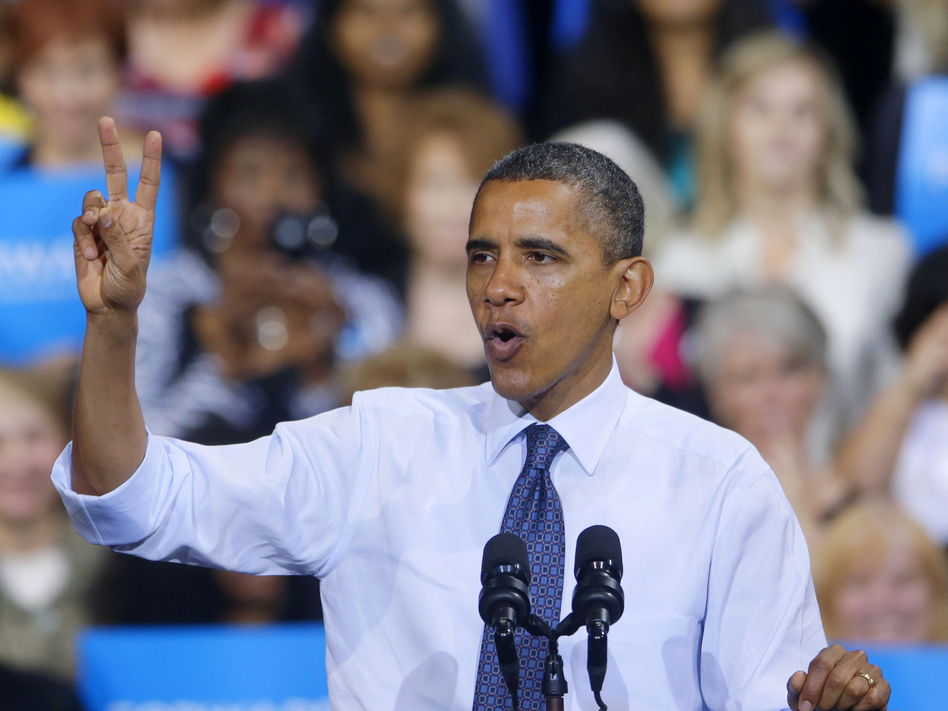 Meanwhile, President Obama held a rally of his own at George Mason University in Fairfax, Va. (AP)