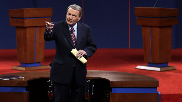Moderator Jim Lehrer addresses the audience before the first presidential debate at the University of Denver on Wednesday