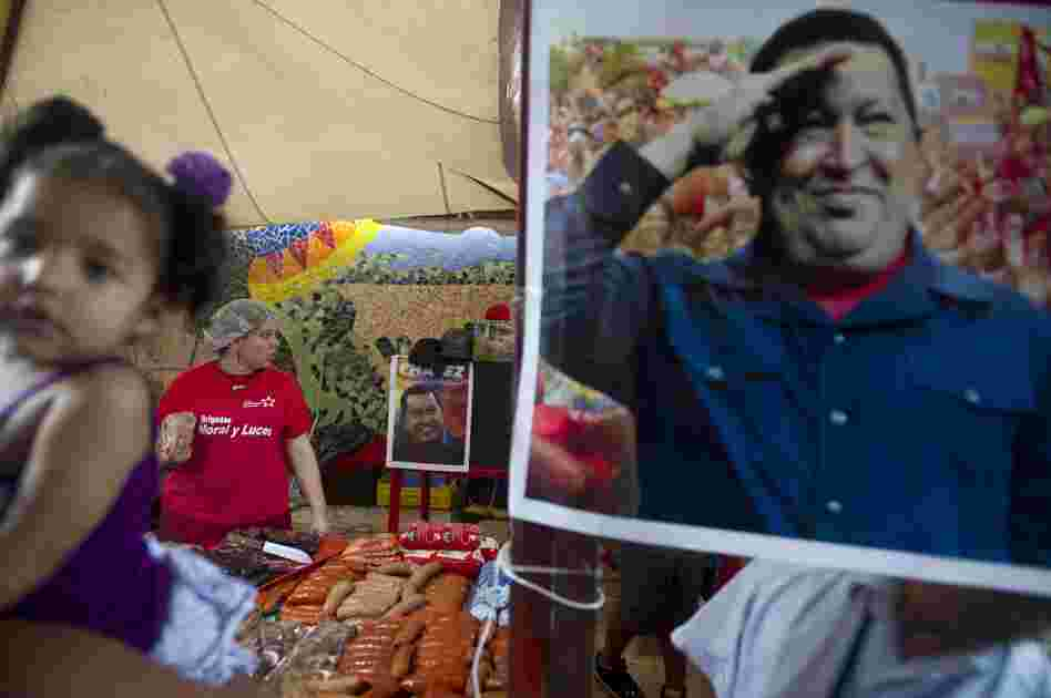 A picture of Venezuelan President Hugo Chavez was on display this week at a state-run market that provides subsidized food and basic goods in Caracas.
