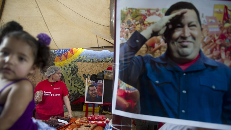A picture of Venezuelan President Hugo Chavez was on display this week at a state-run market that provides subsidized food and basic goods in Caracas. (AFP/Getty Images)