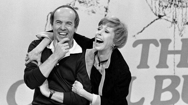"""Carol Burnett shares a laugh with Tim Conway during taping of her final show , March 19, 1978 after 11 years of music and comedy on CBS. """"I think it's classier to leave before you're asked to leave, """" Miss Burnett said during a break in Friday's taping. """"I'm proud of our show. I'm no dummy. It's time to put it to bed. """" (AP)"""