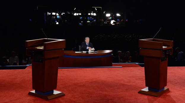 Moderator Jim Lehrer sits at his desk before last Wednesday's debate between President Obama and Republican presidential candidate Mitt Romney in Denver. For third-party candidates, getting into a presidential debate is practically impossible. (Getty Images)