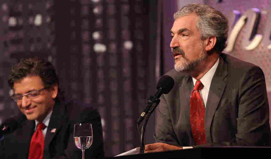 "Daniel Pipes (right) and Dr. M. Zuhdi Jasser argue against the motion, ""Better Elected Islamists Than Dictators."""