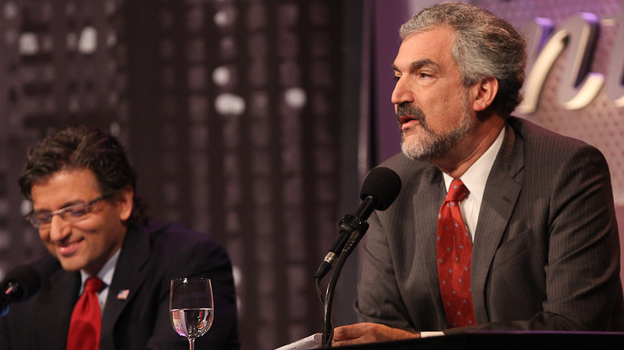 """Daniel Pipes (right) and Dr. M. Zuhdi Jasser argue against the motion, """"Better Elected Islamists Than Dictators."""" (Samuel LaHoz)"""