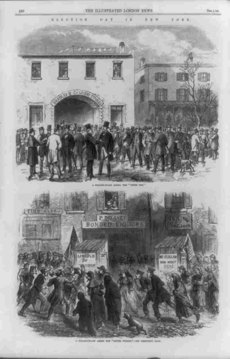 """A print in The Illustrated London News of Dec. 3, 1864, depicts Election Day in a wealthy (top) and poor (bottom) neighborhood in New York. The top caption reads: """"A polling-place in the 'upper ten.' """" The bottom caption reads: """"A polling-place among the 'lower twenty.' """" Click Here To See A Full-Size Image"""