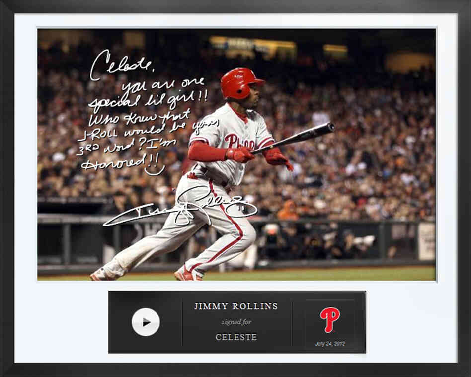 An Egraph signed by Philadelphia Phillies baseball player Jimmy Rollins. Egraphs offers an autographed digital picture with a handwritten note and a personalized audio message for $50