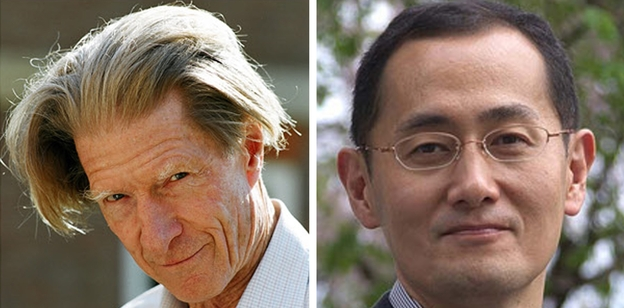 John B. Gurdon (left) and Shinya Yamanaka will share the prize, worth about $1.2 million. (AFP/Getty Images)