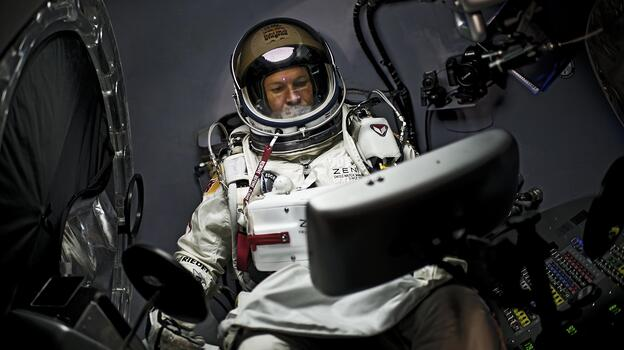 Felix Baumgartner of Austria sits in his capsule during the preparations for the final manned flight of the Red Bull Stratos mission in Roswell, New Mexico, on Oct. 6. (AFP/Getty Images)