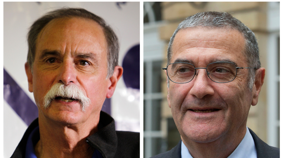 In this combination of photos, American physicist David Wineland (left) speaks at a news conference in Boulder, Colo., and French physicist Serge Haroche speaks to the media in Paris after they were named winners of the 2012 Nobel Prize in physics.