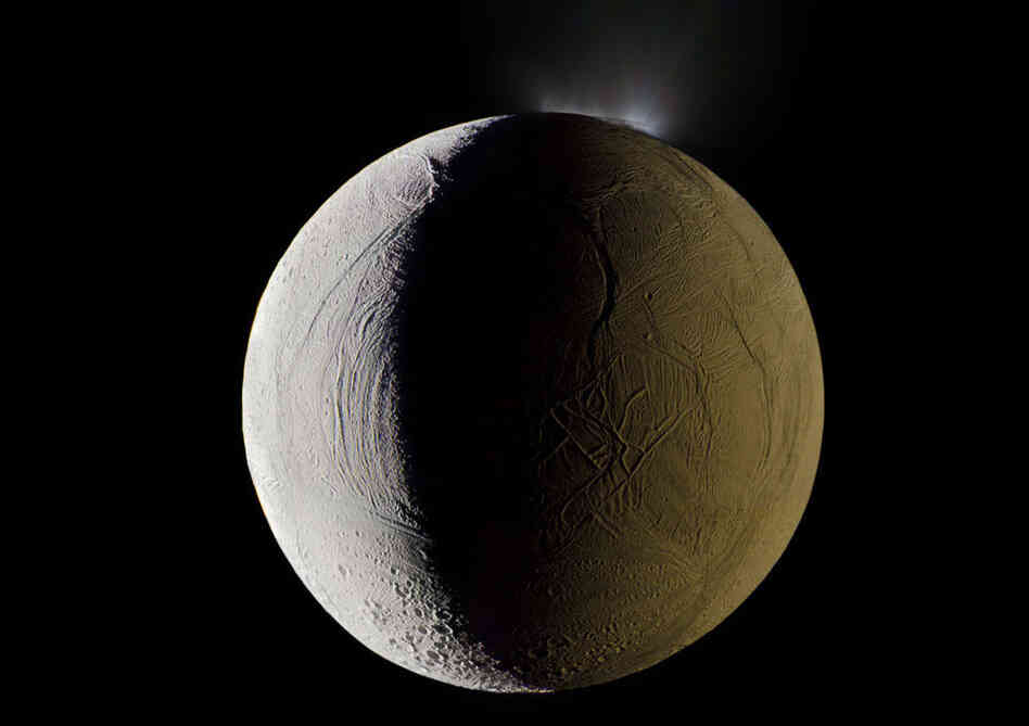 Enceladus, shooting geysers of water into space.
