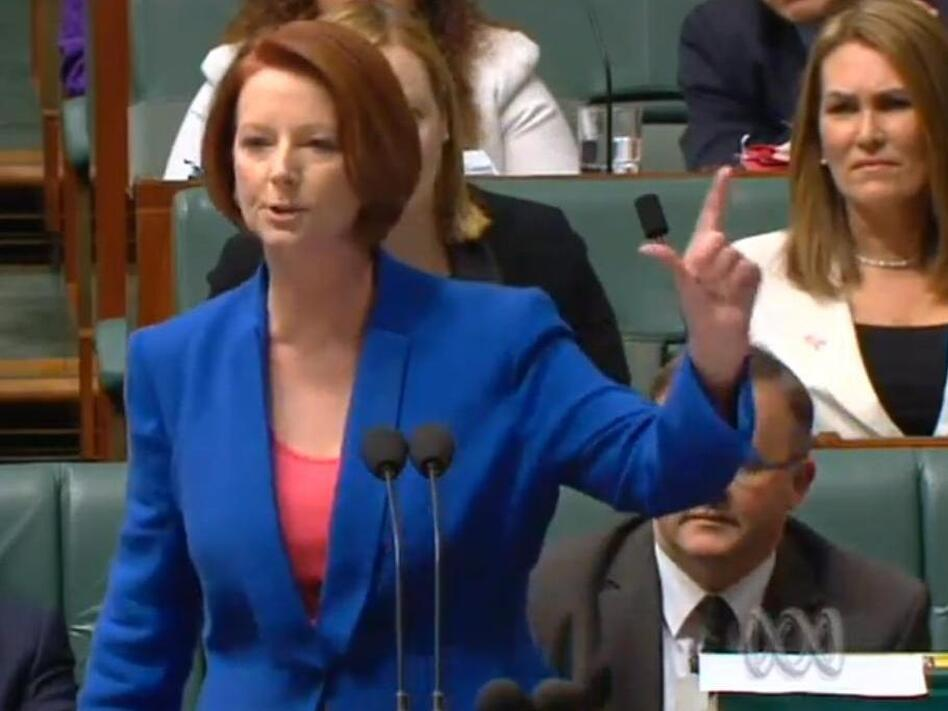 Australian Prime Minister Julia Gillard delivering her verbal takedown of the opposition.