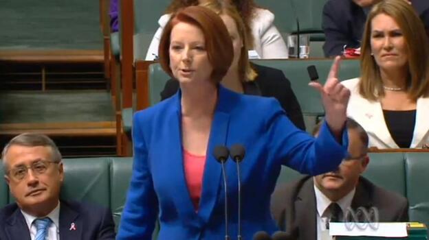 Australian Prime Minister Julia Gillard delivering her verbal takedown of the opposition. (ABCNews (of Australia))