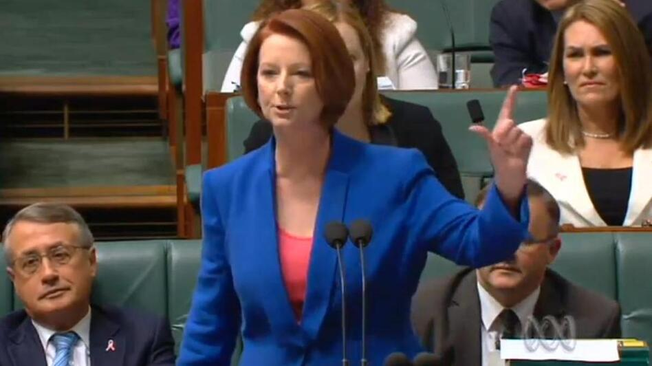 Australian Prime Minister Julia Gillard delivering her verbal takedown of the opposition. (ABCNews (of Australia))