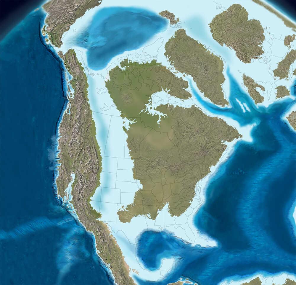 Map of Late Cretaceous coastline.