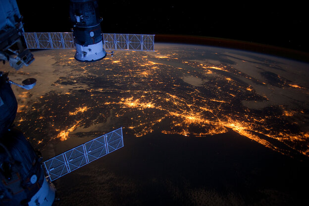 This nighttime photograph taken from the International Space Station shows much of the Atlantic coast of the United States. Parts of two Russi