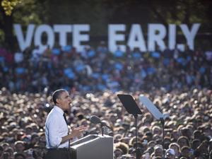 President Obama at Ohio State University in Columbus on Tuesday.