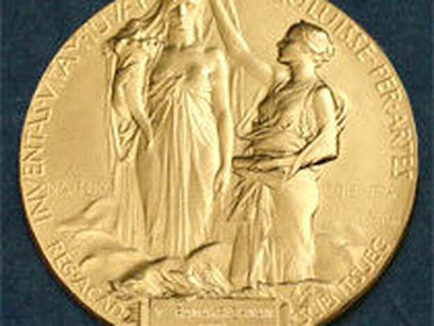"""The medal for the Nobel in Physics. According to the Nobel committee, the inscription reads: """" 'Inventas vitam juvat excoluisse per artes' loosely translated 'And they who bettered life on earth by their newly found mastery.' """" (NobelPrize.org)"""
