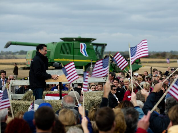 Mitt Romney on a farm in Van Meter, Iowa, on Tuesday.
