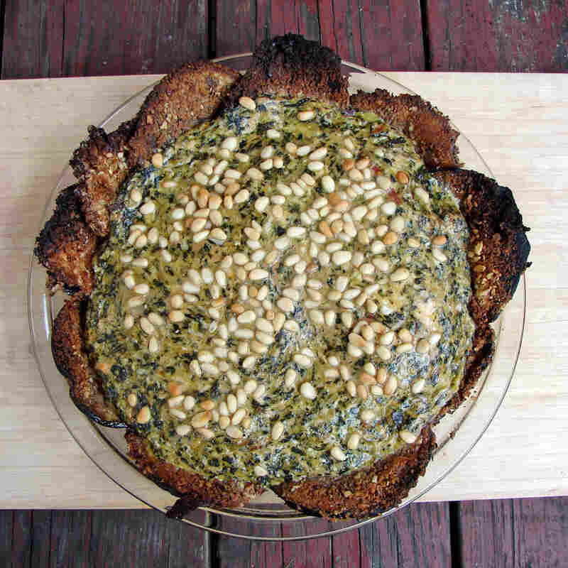 Chard And Artichoke Tart With Crispy Eggplant Crust