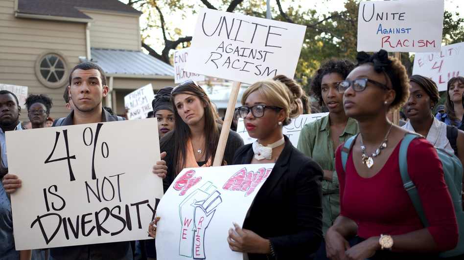 Students rally Oct. 3 in the wake of reports of water balloon attacks on minority students at the University of Texas at Austin. Campus police are investigating the incidents. (The Daily Texan)