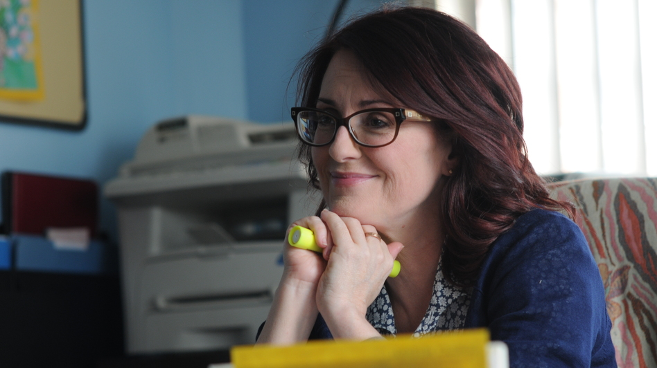 Kate lies to her boss, Principal Barnes (Megan Mullally), about being pregnant in order to hide her drinking problem. (Sony Pictures Classics)
