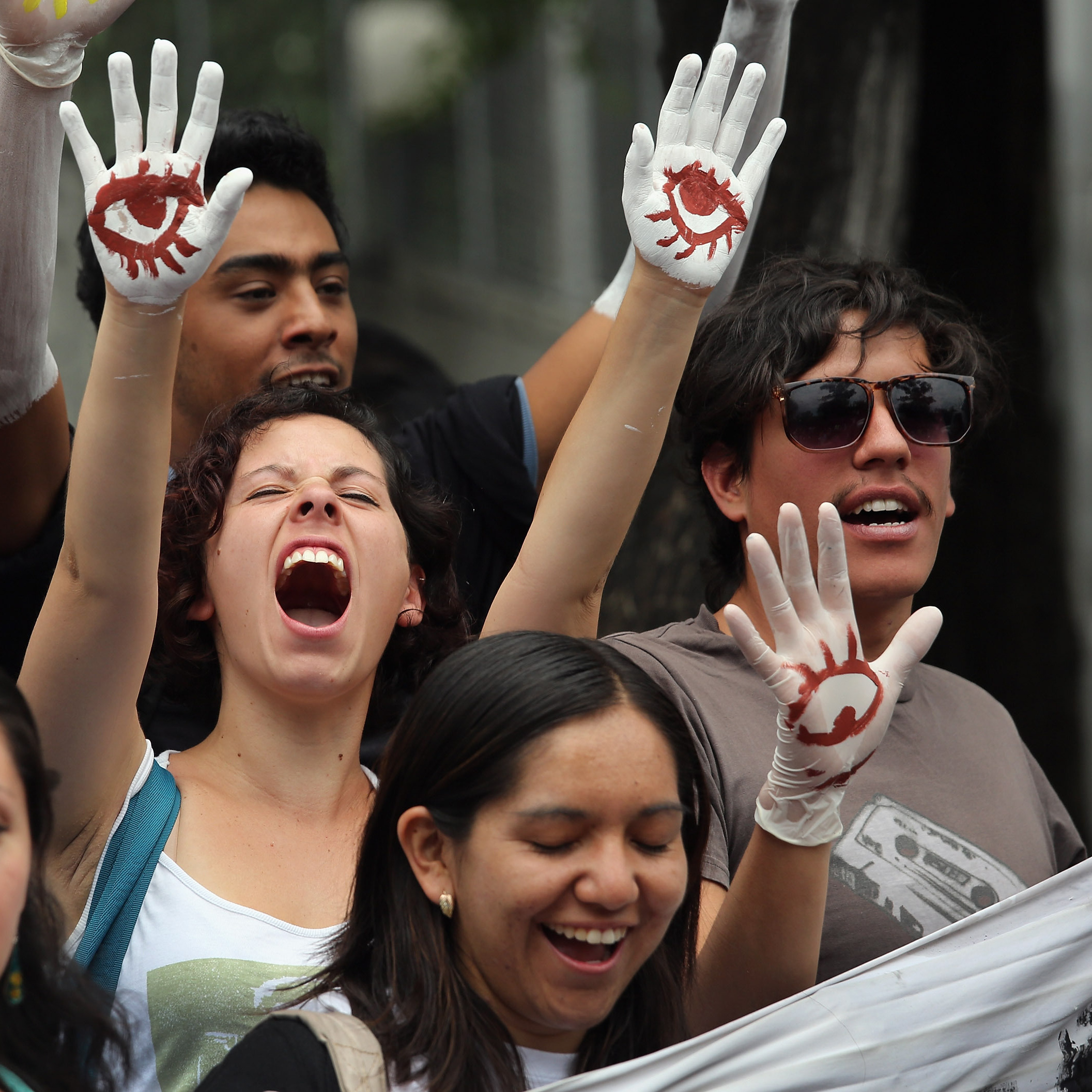 Student protesters stage a demonstration calling for electoral transparency in front of Mexico's Federal Election Commission.