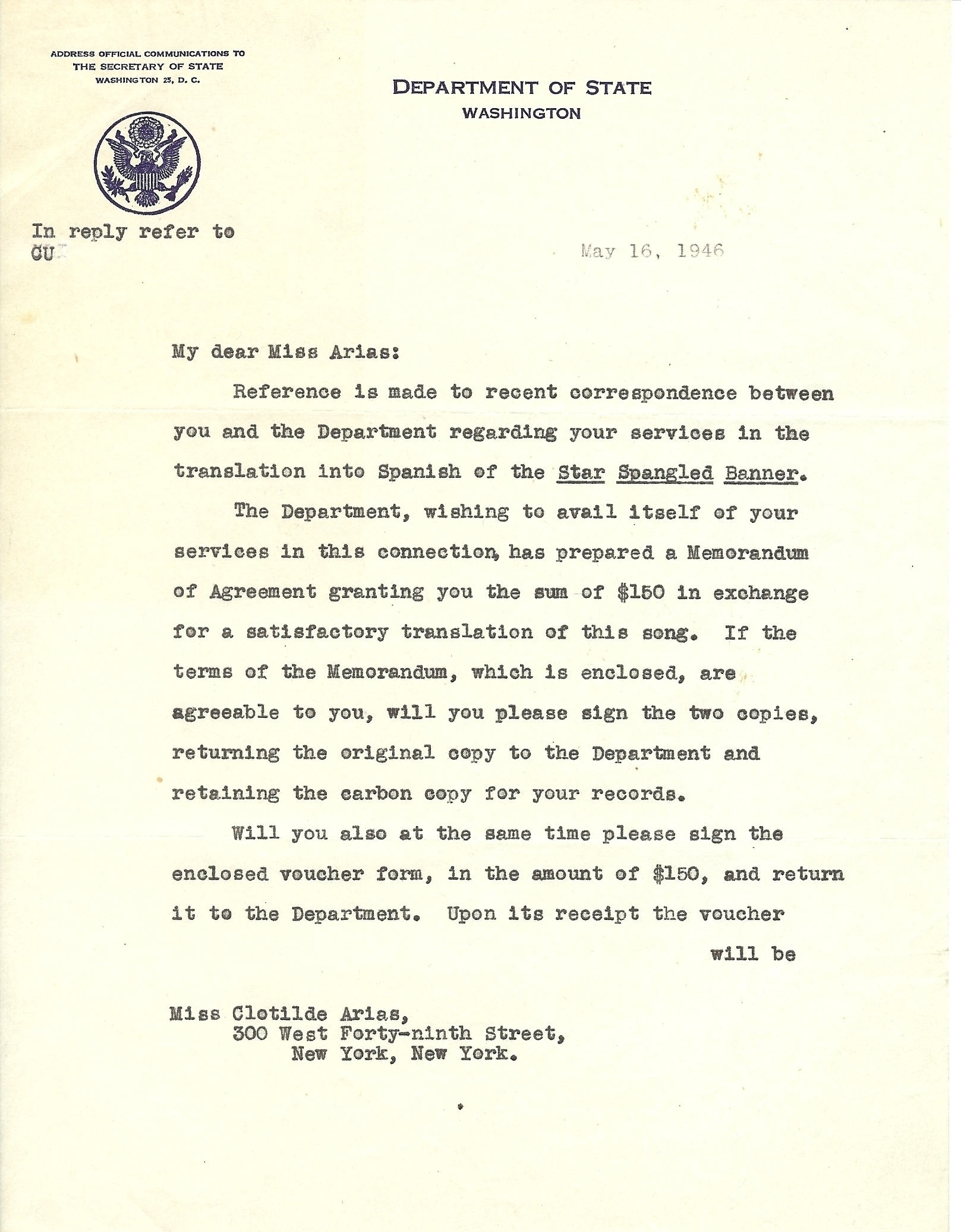 A 1946 State Department memo to Clotilde Arias, setting the terms of payment for her translation.