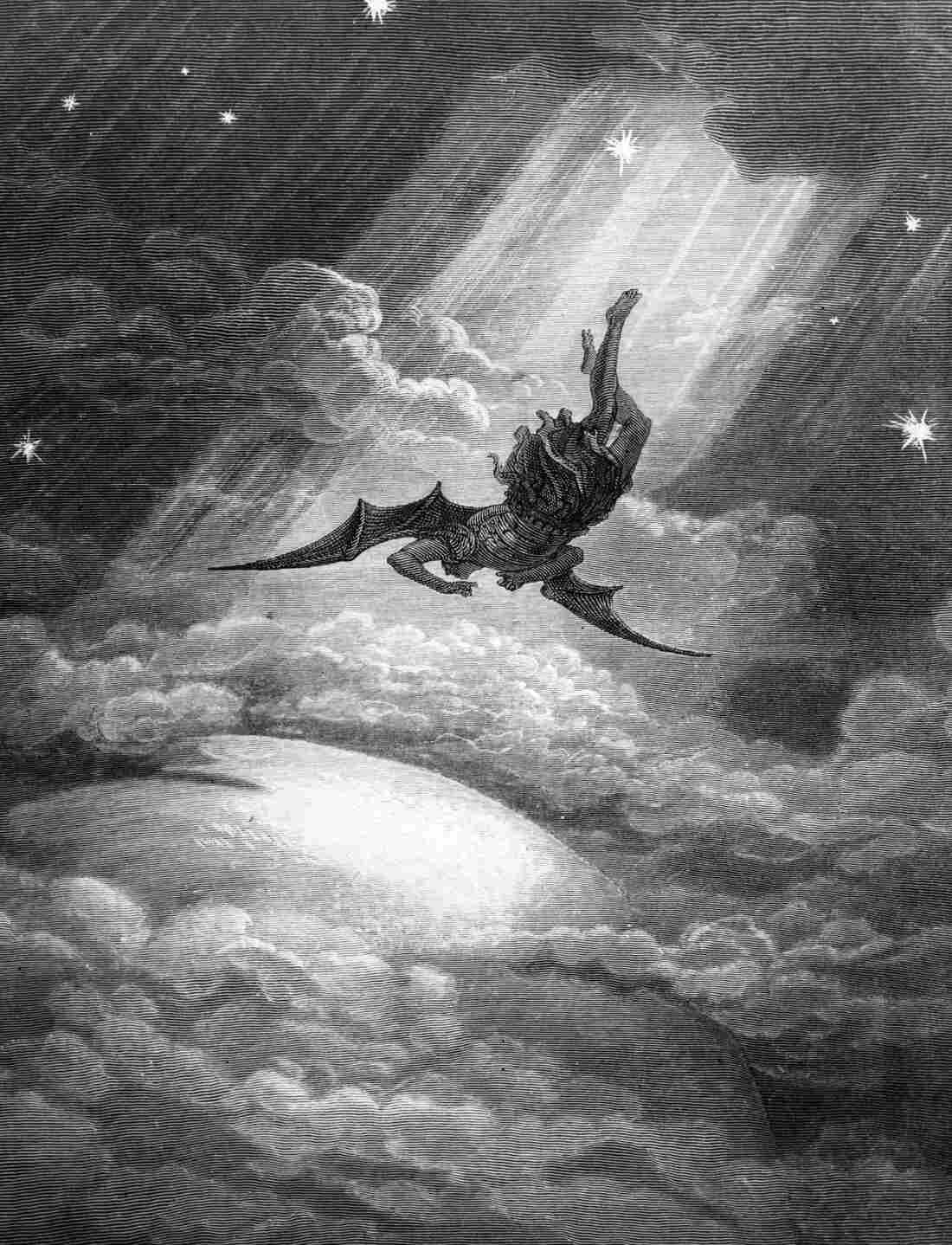 In this Gustave Dore engraving from Milton's Paradise Lost, Satan, the Fallen Angel, is flung from Heaven and nears the confines of the Earth on his way to Hell.