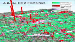 Researchers at Arizona State University and Purdue University created a visualization of the Hestia system that shows the hourly, building-by-building dynamics of carbon dioxide emissions in Indianapolis.