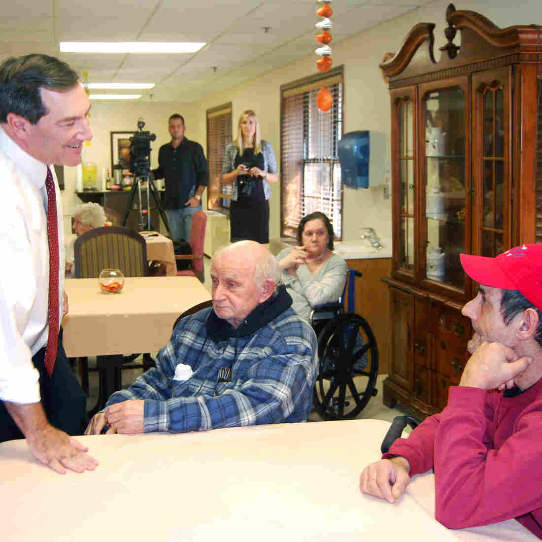 U.S. Rep. Joe Donnelly of Indiana talked with residents of Columbia Healthcare Center, a nursing home in Evansville, Ind., on Thursday.