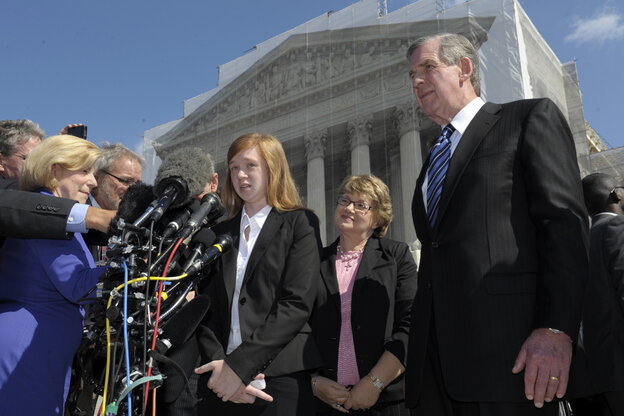 Abigail Fisher, the Texan involved in the University of Texas affirmative action case, talks to re