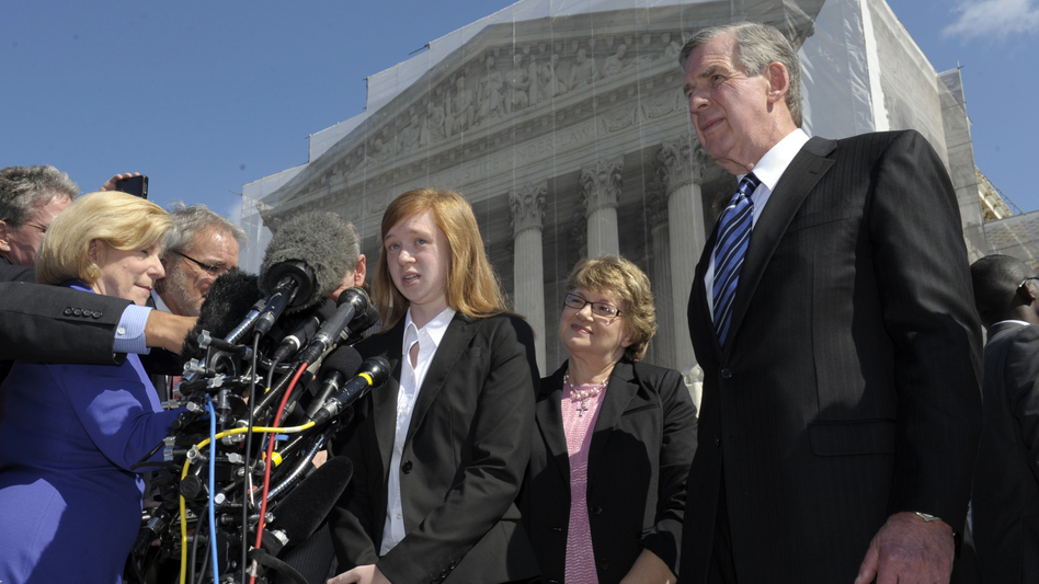 Abigail Fisher, the Texan involved in the University of Texas affirmative action case, talks to reporters outside the Supreme Court in Washington on Wednesday. (AP)