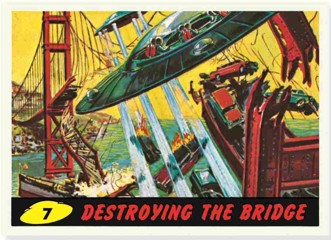 "The card ""Destroying The Bridge"" shows the destruction of the Golden Gate Bridge."