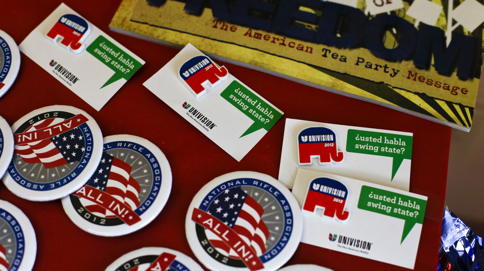 Buttons on display at the Larimer County GOP office. (NPR)