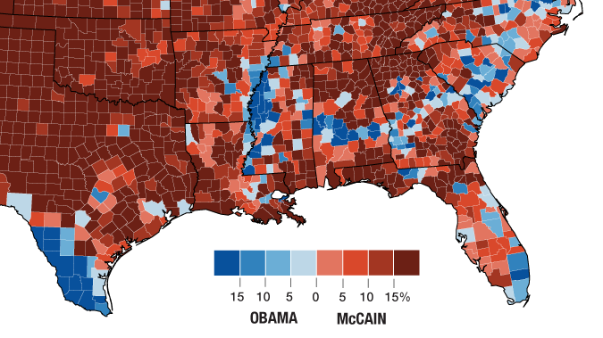 2008 presidential election results by county. Blue denotes majority Democratic votes, and red Republican.