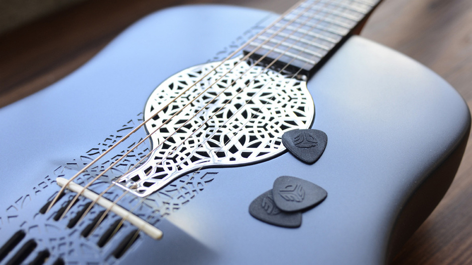 Industrial engineer Scott Summit made this guitar out of nylon powder. (Courtesy of Scott Summit)