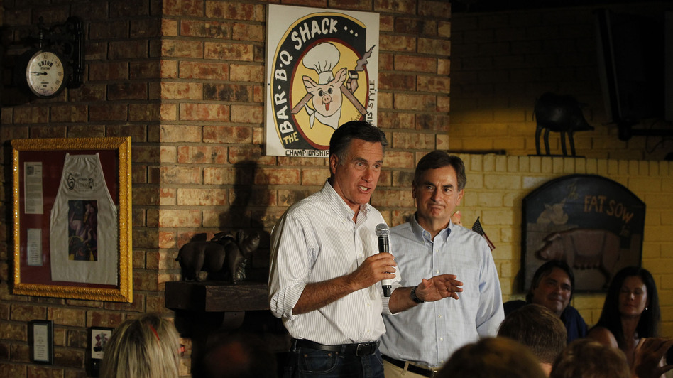 Republican presidential candidate Mitt Romney stumped for U.S. Senate hopeful Richard Mourdock (right) in August at Stepto's BBQ Shack in Evansville, Ind. (AP)