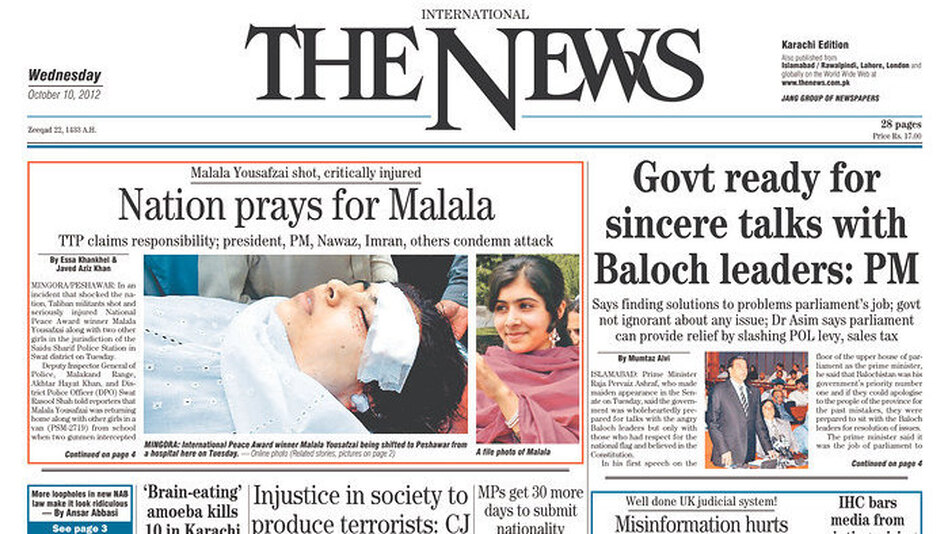 The front page of today's <em>The News</em>, in Karachi, Pakistan.